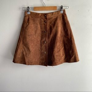 Vintage brown suede button front mini skirt